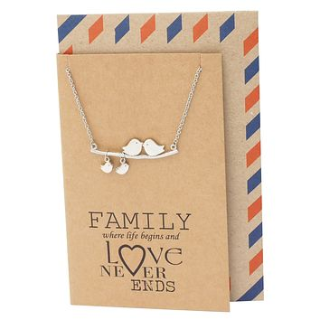 Heidi Gifts for Mom Bird Necklace Family Quotes Greeting Card