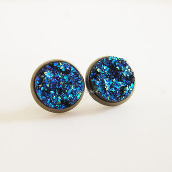 Blue Druzy Earrings Studs Imitation Drusy Stone Post Earrings Modern Jewelry Gift for Her Sister Best Friends Friendship BFF Bridesmaids C1