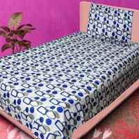 Homefab India White And Blue Geometrical Cotton Single Bedsheet With 1 Pillow Cover 1 Single Bedsheet With 1 Pillow Cover