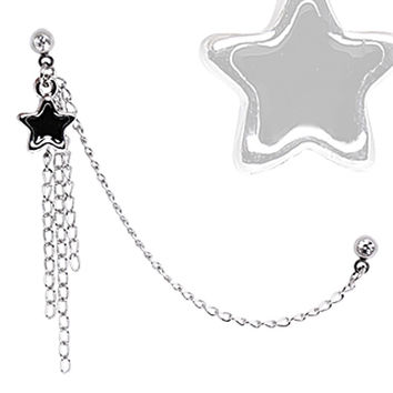 316L Surgical Steel Multi Chained Cartilage Earring with Black Star Dangle