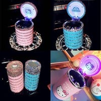 Hello Kitty Car Accessories Rhinestones Crystal Portable Car Ashtray with Led Light for Girls Car Ash Tray Storage Cup Holder