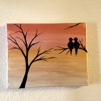 Love birds painting Acrylic painting canvas art Pink Golden Rustic sunset background Birds silhouette Wall decor Birds on a branch gift