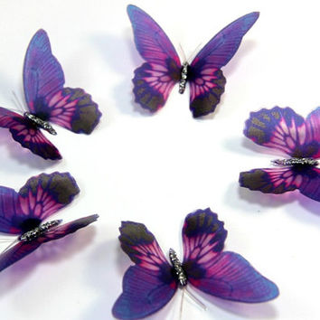 12 Violet Stick on Butterflies, Wedding Cake Toppers, 3D Wall Art, Butterfly Stickers, Wall Decals