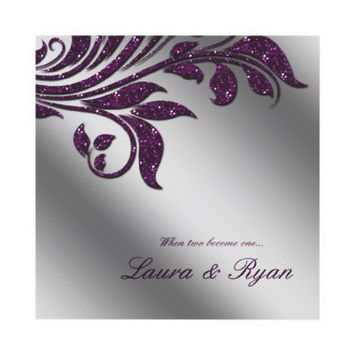 Autumn Wedding Invite Sparkle Leaf Purple Silver from Zazzle.com