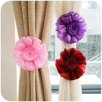 2Pcs=1Pair Rose Flower Curtain Tieback Buckle Clamp Hook Fastener For Home Decor Accessories