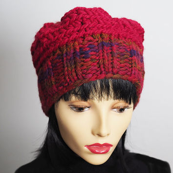 Red hat - Chunky knit hat - Red crochet beanie - Fashion knit hat - Ready to ship - Woman knit hat - Teen girl hat - OOAK hat - Knit cloche