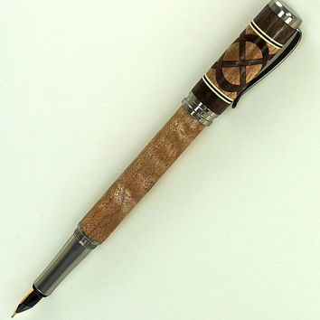 Custom Wooden Pen Fountain Beautiful Quilted Maple  Black Walnut Knot and Segments Cream and Black Rings Stainless Steel Components 723FPT