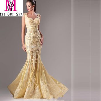 Fashion Luxury 2016 MGS Gold Mermaid Sweetheart Cap Sleeve Floor-Length Sequined Lace Appliqued Formal Evening Dresses Prom Gown