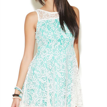 Contrast Lace Skater Dress | Wet Seal