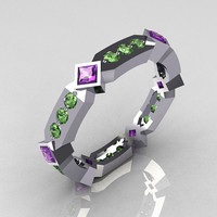 Cartier Style 10K White Gold Round Green Sapphire Princess Cut Lilac Amethyst Eternity Ring Y256-10KWGDLA