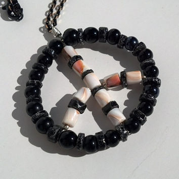 Black Onyx and Shell Peace Necklace Hand Made In USA Unisex Men Woman Teens