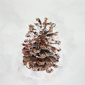 Pine Cone Reproduction Print- 7x10 Watercolor Painting- Brown Cone,White Snow- Rustic, Woodland, Winter, Fall