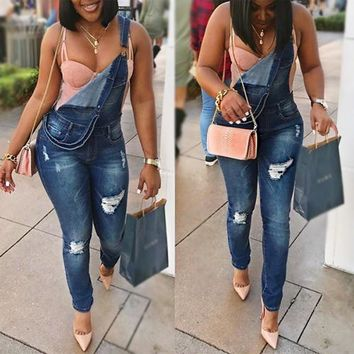 Stylish spaghetti strap sleeveless broken holes holes blue denim one piece jumpsuit