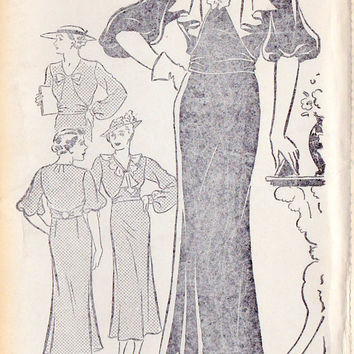 "1930s Womens Plus Size Dress Vintage Sewing Pattern, New York 527 Bust 44"" uncut"