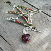 Red Heart Necklace, Czech Glass Chain Necklace, Red and Green Jewellery