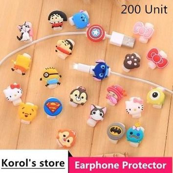 200pcs Cartoon USB Cable Earphone Protector Headphones Line Saver For iPhone 5 6 7 Samsung Charging Line Data Cable Protection