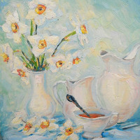 Still Life Flowers Daffodils in Vase Spring Bouquet Made to order Impasto Oil Painting Gift Wall Decor Contemporary Art Painting from Photo