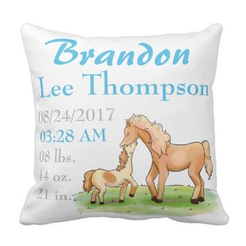Horse Equestrian Love Baby Announcement Birth Throw Pillow