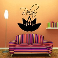 Wall Decals Yoga Vinyl Sticker Girl Relax Lotus Decal Flower Yoga Studio Gym Home Interior Indian Mandala Home Wall Art Murals Bedroom Living Room Decor KT130