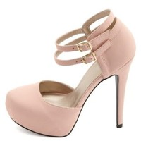 Qupid Double Ankle Strap Platform Pumps by Charlotte Russe - Blush