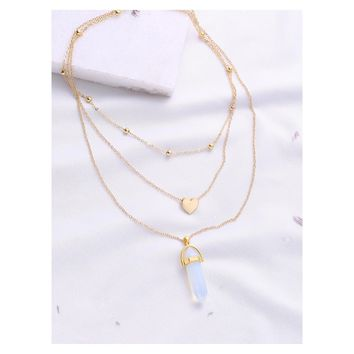 Gold Layered Heart Opal Pendant Necklace