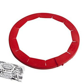 """Designs Adjustable Pie Crust Shield, BPA-free Silicone, Red, Fits 8.5"""" - 11.5"""" Rimmed Dish"""