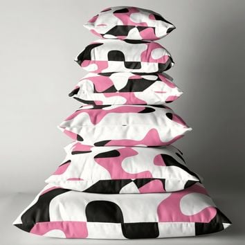 'pink black and white abstract' Throw Pillow by Christy Leigh