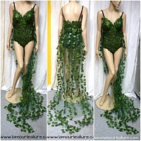 Full Poison Ivy Monokini Gown Dress Costume Rave Bra Rave Wear Cosplay Halloween