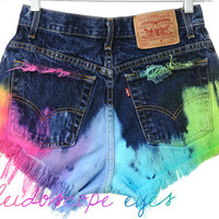 Vintage LEVIS High Waist RAINBOW OMBRE Dyed Denim Cut Off Shorts M