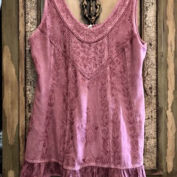 Soft Surroundings Embroidered Rose Laguna Tank Top  XS NEW