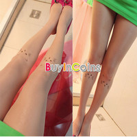 Cat Pattern Kawaii Women Transparent Tattoo Stockings Pantyhose