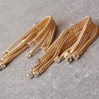Hattie Carnegie Earrings Fringe Foxtail Gold Tone Rhinestones Waterfall Vintage