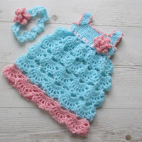 Crochet Dress and headband in aqua and pink color, Baby Clothes,  Child frock, Infant Clothes, Crochet Baby Dress, Infant Dress