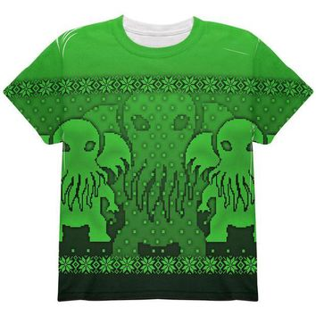 DCCKU3R Ugly Christmas Sweater Big Cthulhu Greater Gods All Over Youth T Shirt