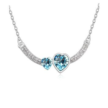 Double Crystal Heart Pendant Necklace For Women