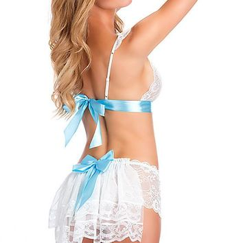 Bridal Lace Bralette and Boy Short Set (Medium-XL)