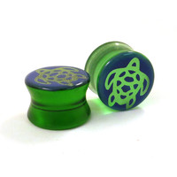 "Sea Turtle Handpainted Green Glass Plugs 00g (9mm) (10mm) 7/16"" (11mm) 1/2"" (13mm) 9/16"" (14mm) 5/8"" (16mm) Marine Ear Gauges"