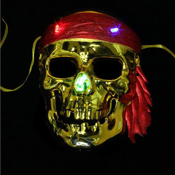 Vintage Gold Silver Pirates Mask Lighting Pirate Skull Masks Halloween Carnival Party Cosplay Supplies