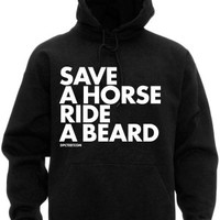 Men's Save A Horse Ride A Beard Hoodie - Black
