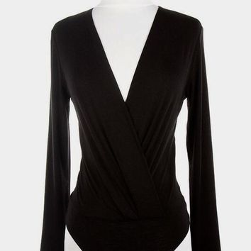 Elli Black Surplice Bodysuit