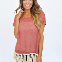 Fringe Trim Fine Knit - Dark Rose