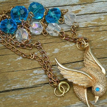 Bird Necklace Pendant Gold Tone Swallow Blue Glass Crystal Bead Vintage Assemblage