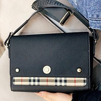 Burberry New fashion plaid leather shoulder bag crossbody bag Black