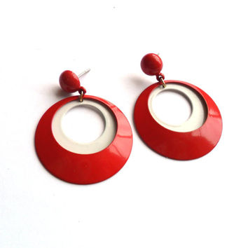 Vintage Red White Dangle Earrings Hoops Enamel Post Back Pinup Retro Cherry Mod Pop Painted Metal Pierced