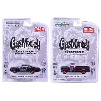 "1967 Chevrolet Impala SS and 1968 Chevrolet C-10 Pickup Truck Black Set of 2 Cars ""Gas Monkey Garage\"" (2012-Current TV Series) 1/64 Diecast Model Cars by Greenlight"