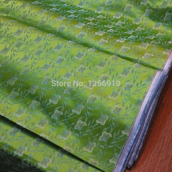 chinese silk brocade  fabric cheongsam green back Impatiens Balsamina flower 2+ diffrent color Tapestry satin