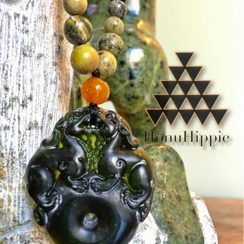 Boho mala meditation pendant, energizing hippie necklace