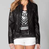 Jou Jou Faux Leather Womens Jacket Black  In Sizes