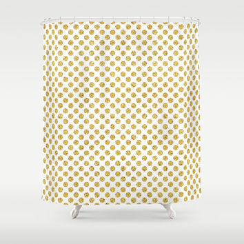 Gold Glitter Dots, Modern Patter, Nursery, Glam Art Print Shower Curtain by PeachAndGold