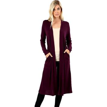 "Duster Sweater Open Cardigan with Side Pockets-42"", Dark Plum"
